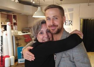 Ryan Gosling with Joelle Murray at Grinder Coffee in Toronto