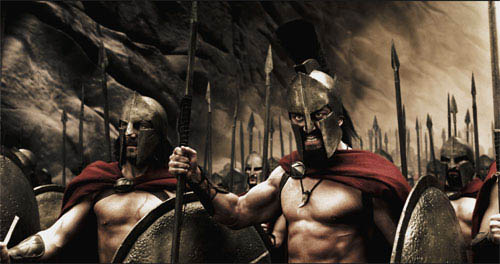 "Captain (VINCENT REGAN), Leonidas (GERARD BUTLER) and the Spartans stand ready to halt the advance of the Persian army in Warner Bros. Pictures', Legendary Pictures' and Virtual Studios' action drama ""300,"" distributed by Warner Bros. Pictures.