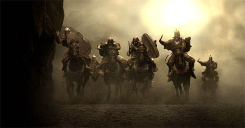 "The Persian cavalry, astride black stallions, emerges from the dust and smoke of the battlefield in Warner Bros. Pictures', Legendary Pictures' and Virtual Studios' action drama ""300,"" distributed by Warner Bros. Pictures.