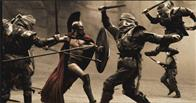 "Leonidas (GERARD BUTLER) fights his way through the first wave of Persian infantry in Warner Bros. Pictures', Legendary Pictures' and Virtual Studios' action drama ""300,"" distributed by Warner Bros. Pictures."