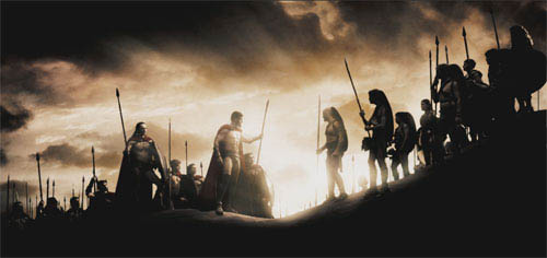 """The 300, led by Leonidas (GERARD BUTLER, center left), meet up with their allies, the Arcadians, led by Daxos (ANDREW PLEAVIN, center right) on the journey to the Hot Gates in Warner Bros. Pictures', Legendary Pictures' and Virtual Studios' action drama """"300,"""" distributed by Warner Bros. Pictures.  - Large"""