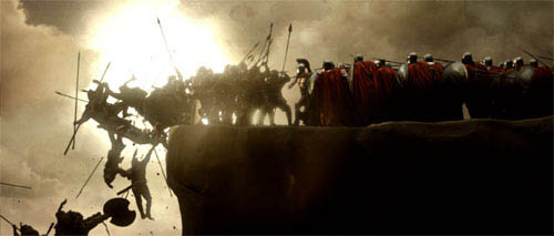 "As the Spartan phalanx led by Leonidas (GERARD BUTLER, center) advances, the rear column of attacking Persians falls over the cliff's edge and into the sea below in Warner Bros. Pictures', Legendary Pictures' and Virtual Studios' action drama ""300,"" distributed by Warner Bros. Pictures.