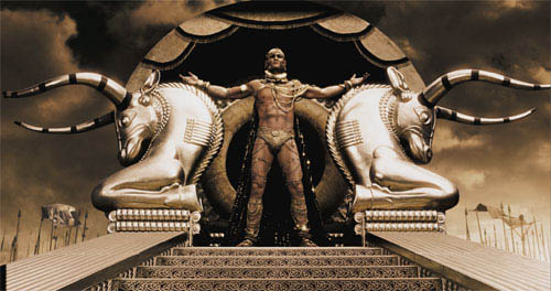 """Xerxes (RODRIGO SANTORO), the Persian king who claims to be a god, stands atop his elaborate golden litter in Warner Bros. Pictures', Legendary Pictures' and Virtual Studios' action drama """"300,"""" distributed by Warner Bros. Pictures.   - Large"""