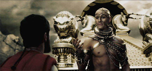 """Xerxes (RODRIGO SANTORO) attempts to ply Leonidas (GERARD BUTLER) with promises of wealth and power contingent upon the surrender of the Spartan troops in Warner Bros. Pictures', Legendary Pictures' and Virtual Studios' action drama """"300,"""" distributed by Warner Bros. Pictures. - Large"""