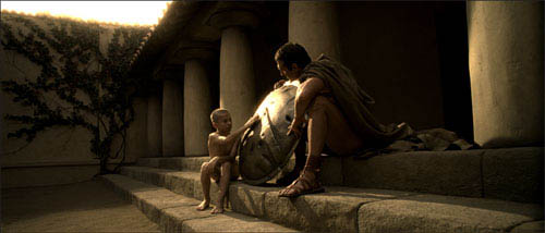 "Leonidas' Father (TIM CONNOLLY) teaches his young son (ELI SNYDER) the importance of a Spartan shield in Warner Bros. Pictures', Legendary Pictures' and Virtual Studios' action drama ""300,"" distributed by Warner Bros. Pictures.