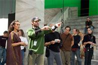 "Director ZACK SNYDER (center) blocks a scene with LENA HEADEY who portrays Gorgo, during filming of Warner Bros. Pictures', Legendary Pictures' and Virtual Studios' action drama ""300,"" distributed by Warner Bros. Pictures."