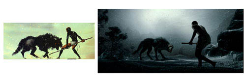"""On the left, a panel from Frank Miller's graphic novel 300. On the right, the scene as it appears in Warner Bros. Pictures', Legendary Pictures' and Virtual Studios' action drama """"300,"""" distributed by Warner Bros. Pictures.   - Large"""