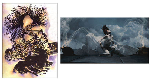 "On the left, a panel from Frank Miller's graphic novel 300. On the right, the scene as it appears in Warner Bros. Pictures', Legendary Pictures' and Virtual Studios' action drama ""300,"" distributed by Warner Bros. Pictures. 