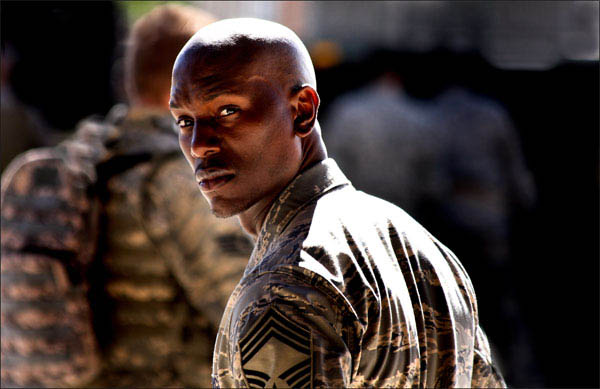 Tyrese Gibson on the set of Transformers: Revenge of the Fallen