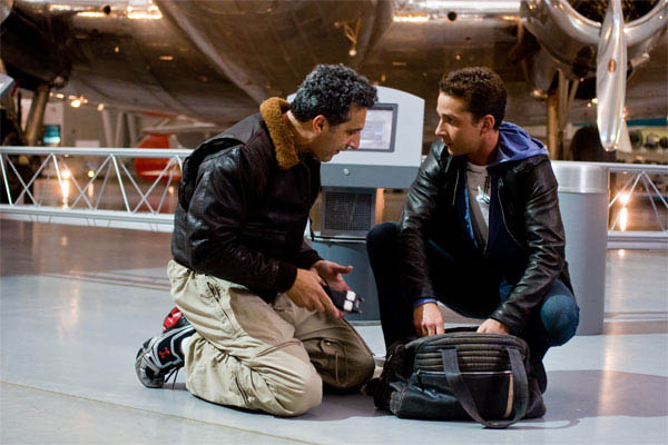 John Turturro and Shia LaBeouf at the airplane museum