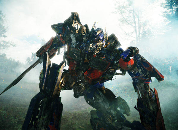 Optimus Prime in the heat of battle with the Decepticons