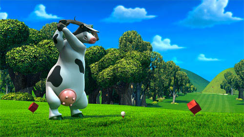 "In the animated feature film ""Barnyard"" the farmer thinks he's in charge, keeping all the animals safe and sound.  But when the farmer is out of sight, the lookout sheep shouts   ""Clear!""  and all of the barnyard animals spring up on two legs, walk, talk, watch TV, and orchestrate outrageous practical jokes.  Otis the cow (pictured, voice of Kevin James) is the biggest goof-off of all - until he's forced to take on responsibility for the other animals. - Large"