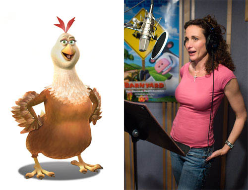 "Andie MacDowell (pictured) plays Etta, the maternal hen who keeps the henhouse in order, in the animated feature  ""Barnyard. "" Paramount Pictures presents in association with Nickelodeon Movies an O Entertainment production, a Steve Oedekerk film,   ""Barnyard."" - Large"