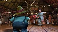 "In the animated feature film ""Barnyard"" the farmer thinks he's in charge, keeping all the animals safe and sound.  But when the farmer is out of sight, the lookout sheep shouts  ""Clear!"" and all of the barnyard animals spring up on two legs, walk, talk, watch TV, and orchestrate outrageous practical jokes.  Otis the cow (left, voice of Kevin James) is the biggest goof-off of all - until he's forced to take on responsibility for the other animals."