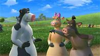 "In the animated feature film ""Barnyard"" the farmer thinks he's in charge, keeping all the animals safe and sound.  But when the farmer is out of sight, the lookout sheep shouts  ""Clear!"" and all of the barnyard animals spring up on two legs, walk, talk, watch TV, and orchestrate outrageous practical jokes.  In fact, the only two animals that take any responsibility at all are Ben (right, voice of Sam Elliott), the boss of the barnyard, and Etta (center, voice of Andie MacDowell), who keeps the henhouse in order."