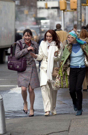 Close friends Dana (Bree Turner), Ashley (Lindsay Lohan) and Maggie (Samaire Armstrong) enjoy a stroll through the streets of Manhattan, in JUST MY LUCK.  - Large