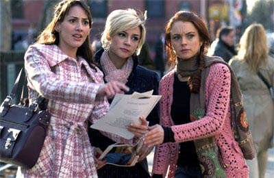 In the Big Apple, friends Dana (Bree Turner, left), Maggie (Samaire Armstrong) and Ashley (Lindsay Lohan) try to find their way through shifting fortunes, in JUST MY LUCK.  - Large