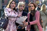In the Big Apple, friends Dana (Bree Turner, left), Maggie (Samaire Armstrong) and Ashley (Lindsay Lohan) try to find their way through shifting fortunes, in JUST MY LUCK.