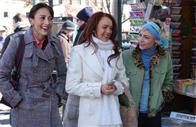 Close friends Dana (Bree Turner), Ashley (Lindsay Lohan) and Maggie (Samaire Armstrong) enjoy a stroll through the streets of Manhattan, in JUST MY LUCK.