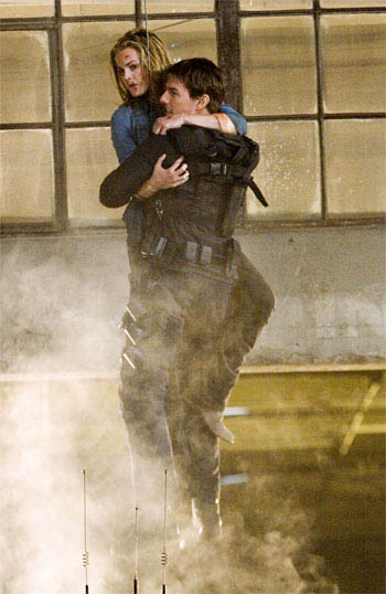 "Ethan Hunt (Tom Cruise, left) with the most important woman in his life, Julia (Michelle Monaghan, right), in ""Mission: Impossible III."""