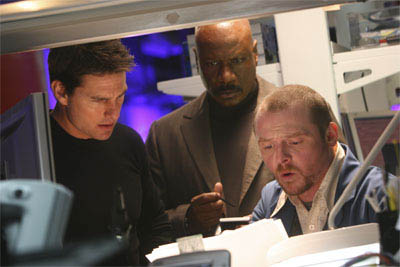 "As Ethan Hunt (Tom Cruise, left) faces his most personal mission yet, he relies on the help of team member Luther (Ving Rhames, center) and tech expert Benji (Simon Pegg, right) in ""Mission: Impossible III."""