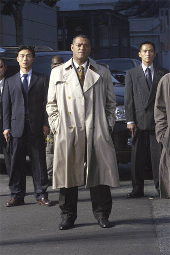 "Laurence Fishburne (center) is Brassel, the director of the Impossible Mission Force in ""Mission:  Impossible III."""