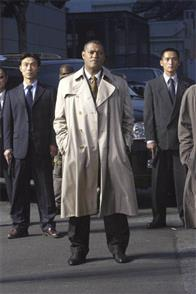 """Laurence Fishburne (center) is Brassel, the director of the Impossible Mission Force in """"Mission:  Impossible III."""""""