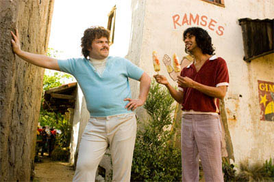 "In ""Nacho Libre"" Jack Black (left) stars as Ignacio (friends call him Nacho) a cook by day in a Mexican orphanage, who, with his partner, Esqueleto (Héctor Jiménez, right), moonlights as a Lucha Libre wrestler to raise money for the orphans. - Large"