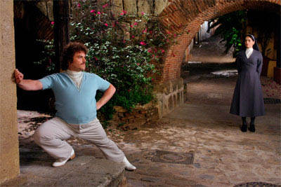 "In ""Nacho Libre"" Ignacio (Jack Black, left), the cook at a monastery, tries to impress the beautiful Sister Encarnación (Ana de la Reguera, right) by moonlighting as a masked Lucha Libre wresler. - Large"
