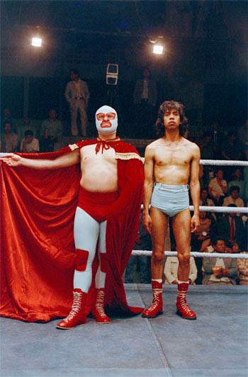 """In """"Nacho Libre""""  Jack Black (left) stars as Ignacio (friends call him Nacho) a cook by day in a Mexican orphanage, who, with his partner, Esqueleto (Héctor Jiménez, right), moonlights as a Lucha Libre wrestler to raise money for the orphans. - Large"""