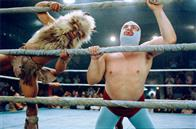 "Jack Black (right) stars as Ignacio (friends call him Nacho), a cook by day in a Mexican orphanage, who moonlights as a Lucha Libre wrestler - taking on such foes as Satan's Helpers (left) - to raise money for the orphans in  ""Nacho Libre"" a comedy from the creators of  ""Napoleon Dynamite"" and the writer of  ""The School of Rock."""