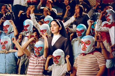 "In ""Nacho Libre"" Ana de la Reguera (center) stars as Sister Encarnación, who joins the monastery and inspires Nacho to raise money for the orphanage by becoming a Lucha Libre wrestler. - Large"