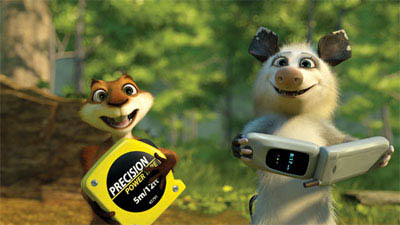 RJ (BRUCE WILLIS, left) gives Hammy (STEVE CARELL) his marching orders in DreamWorks Animation's computer-animated comedy OVER THE HEDGE. - Large