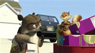 (Left to right) RJ the raccoon (BRUCE WILLIS), Verne the turtle (GARRY SHANDLING), Hammy the squirrel (STEVE CARELL) make a run for it with their snacks, accompanied by Ozzie the possum (WILLIAM SHATNER), Heather the possum (AVRIL LAVIGNE), Lou the porcupine (EUGENE LEVY), Penelope the porcupine (CATHERINE O'HARA), and Stella the skunk (WANDA SYKES) on top Gladys' (ALLISON JANNEY) car in DreamWorks' Animation OVER THE HEDGE.