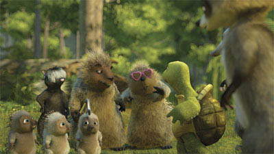 Stella (WANDA SYKES) makes an uninvited surprise appearance at a birthday party in DreamWorks Animation's computer-animated comedy OVER THE HEDGE. - Large