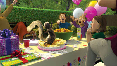 RJ the raccoon (BRUCE WILLIS) leads the woodland band, including Verne the turtle (GARRY SHANDLING), Hammy the squirrel (STEVE CARELL), and the possums, Ozzie (WILLIAM SHATNER) and his daughter, Heather (AVRIL LAVIGNE), on a suburban raid in DreamWorks Animation's computer-animated comedy OVER THE HEDGE. - Large