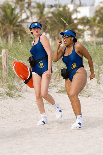 On patrol in Miami, Reno Deputies Trudy Wiegel (Kerri Kenney-Silver, left) and Raineesha Williams (Niecy Nash) try – futilely – to blend in with the beach crowd. - Large