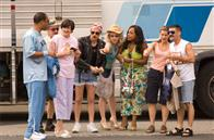 "The members of the fashion-challenged Reno Sheriff's Department sport their ""Miami"" garb. From left: S. Jones (Cedric Yarbrough), James Garcia (Carlos Alazraqui), Trudy Wiegel (Kerri Kenney-Silver), Jim Dangle (Thomas Lennon), Clementine Johnson (Wendi McLendon-Covey), Raineesha Williams (Niecy Nash), Cherisha Kimball (Mary Birdsong) and Travis Junior (Robert Ben Garant)."