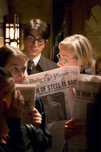 BRANDON ROUTH stars as Clark Kent/Superman in a scene from Warner Bros. Pictures' and Legendary Pictures' action adventure, <i>Superman Returns</i>. - Large