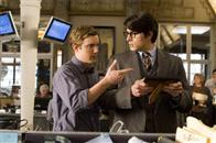 Cub photographer Jimmy Olsen (SAM HUNTINGTON, left) greets Clark Kent (BRANDON ROUTH) upon his return to the Daily Planet building in Warner Bros. Pictures' and Legendary Pictures' action adventure Superman Returns.