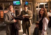 JAMES MARSDEN as Richard White, BRANDON ROUTH as Clark Kent/Superman, and KATE BOSWORTH as Lois Lane  in a scene from Warner Bros. Pictures' and Legendary Pictures' action adventure, <i>Superman Returns</i>.