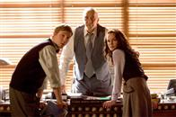 (left to right) Jimmy Olsen (SAM HUNTINGTON), Perry White (FRANK LANGELLA) and Lois Lane (KATE BOSWORTH) discuss the sudden reappearance of the Man of Steel in Warner Bros. Pictures' and Legendary Pictures' action adventure Superman Returns.