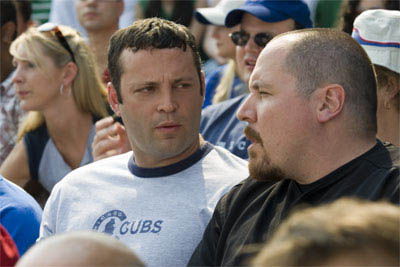 "Bus tour guide Gary Grobowski (VINCE VAUGHN) and best bud Johnny O (JON FAVREAU) take in a baseball game in the romantic comedy ""The Break-Up""."