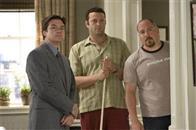 "Realtor Riggleman (JASON BATEMAN), bus tour guide Gary Grobowski (VINCE VAUGHN) and best friend Johnny O (JON FAVREAU) warily look on while Gary's ex ""cleans"" house in the romantic comedy ""The Break-Up""."
