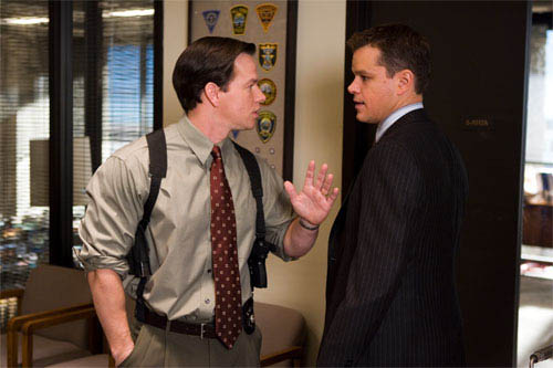 """Sergeant Dignam (MARK WAHLBERG) has a heated exchange with Colin Sullivan (MATT DAMON) over the identity of the mob infiltrator in Warner Bros. Pictures' crime drama """"The Departed.""""  - Large"""