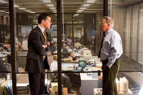 """Police detective Colin Sullivan (MATT DAMON) meets with Captain Queenan (MARTIN SHEEN) about the identity of the mob infiltrator in the State Police in Warner Bros. Pictures' crime drama """"The Departed."""" - Large"""