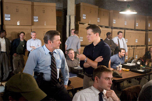 "Captain Ellerby (ALEC BALDWIN) and Colin Sullivan (MATT DAMON) realize something has gone terribly wrong in their surveillance of Costello in Warner Bros. Pictures' crime drama ""The Departed.""