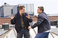 "Undercover State Trooper Billy Costigan (LEONARDO DiCAPRIO) confronts mob mole Colin Sullivan (MATT DAMON) in Warner Bros. Pictures' crime drama ""The Departed."""
