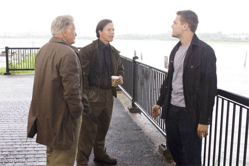 """Undercover cop Billy Costigan (LEONARDO DiCAPRIO) tells his superiors, Captain Queenan (MARTIN SHEEN) and Sergeant Dignam (MARK WAHLBERG), that he is nearing the end of his rope in Warner Bros. Pictures' crime drama """"The Departed.""""  - Large"""