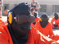 Prisoners held at Guantanamo Bay in Michael Winterbottom and Mat Whitecross' THE ROAD TO GUANTANAMO.